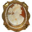 Art Deco Carved Shell Cameo Brooch Goddess Flora 10K Gold Frame