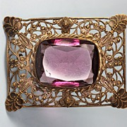 Art Nouveau Filigree Brooch with Amethyst Colored Stone