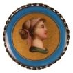 Antique Porcelain Brooch Classical Female Hand Painted Portrait Brooch