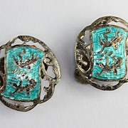 Vintage Siam Sterling Filigree and Turquoise Enamel Earrings