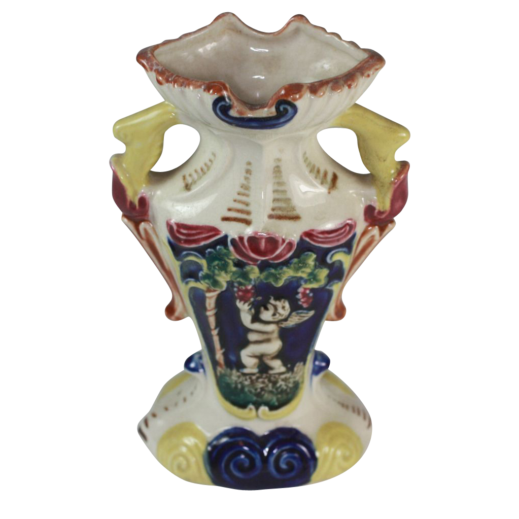 1930's Majolica Colorful Two Handled Urn Vase with Cherubs/Putti