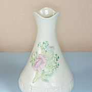 Ireland Belleek Rose Flower and Shamrock Vase:Brown Mark 1980 to 1992