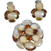 Vintage Topaz and Givre' Stone Art Glass Brooch and Earrings