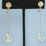 Vintage Crystal Dangle Clip Earrings  Art Deco Style Aurora Borealis Crystals