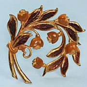 Brown Enameled Gold Tone Floral Art Nouveau Style Vintage Brooch
