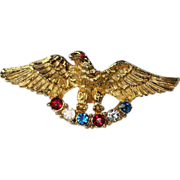 SALE Vintage Eagle Pin with Red White and Blue Rhinestones