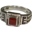 Vintage Carnelian and Sterling Ring  Geometric Design
