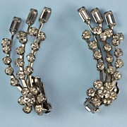 Vintage Rhinestone Earrings Clear Rhinestones Long Spray Design