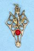 14K Gold Art Nouveau Flower Pendant Lavaliere with Faux Ruby