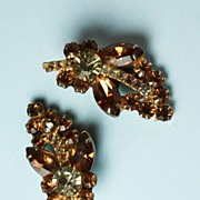 Juliana/ D & E Topaz and Clear Rhinestone Earrings