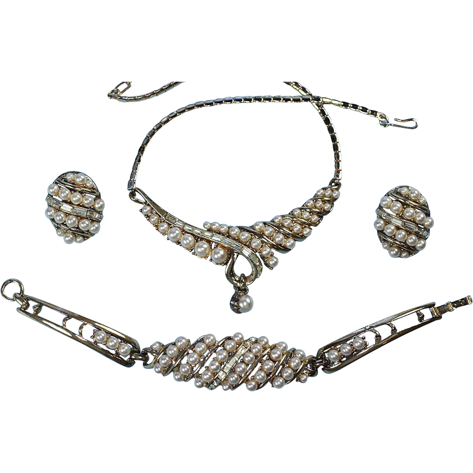 Faux Pearl and Crystal Rhinestone Necklace, Bracelet, Earrings Set Parure Signed Coro