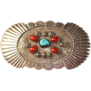 Signed NA Southwestern Sterling Turquoise and Coral Belt Buckle Tsosie/Tom
