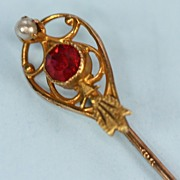 Victorian 10K Gold  Stickpin with Seed Pearl and Faux Ruby