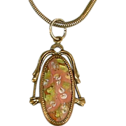 Art Nouveau Venetian Glass Gold Tone Pendant Necklace