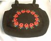 Woven Black Fabric Handbag Embroidered Red Roses Red Satin Lining