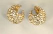 Vintage Clear Rhinestone Chaton Gold Tone Clip Earrings