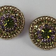 Green and Blue Rhinestone Gold Tone Domed Clip Earrings Hobe'