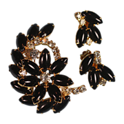 Juliana D & E Black Navette and Clear Rhinestone Brooch Earrings Set