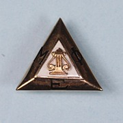 10K Gold Greek Pin Music Honor Society Mu Phi Epsilon  Enameled 1958