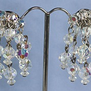 Vintage Aurora Borealis Crystal  Earrings Cascade Dangle Style