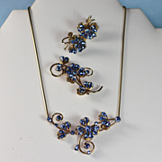 Blue Rhinestone Floral Design Parure Necklace Brooch Earrings Signed Krementz