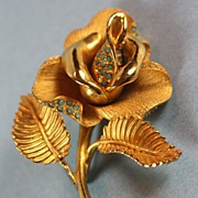 Hattie Carnegie Gold Tone Rose Floral Brooch and Earrings with Turquoise Glass Beads
