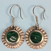 Sterling and Malachite Mexican Dangle Earrings for Pierced Ears