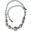Vintage Czech Pale Blue Porcelain Aventurine Trail Beaded Necklace