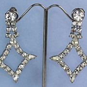 Diamond Shaped  Rhinestone Dangle Earrings