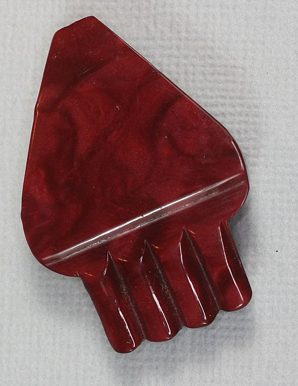 Vintage Art Deco Deep Red  Swirled Early Plastic Celluloid Buckle