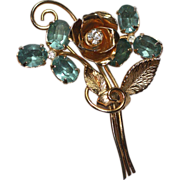 SALE Aquamarine Glass and Gold Tone Retro Floral Brooch Pin