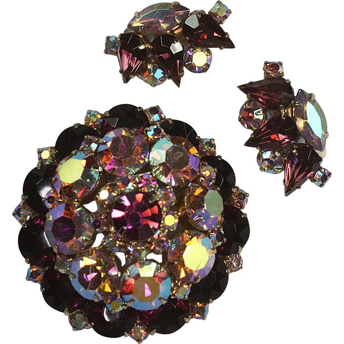 Juliana D & E Aurora Borealis Domed Purple and AB Brooch and Earrings