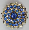 Vintage Brilliant Blue Glass Domed Gold Tone Pin