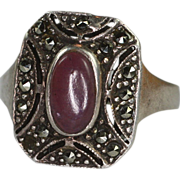 Sterling Lavender Gemstone and Marcasite Art Deco Style Ring