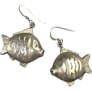 Sterling Puffy Fish Earrings for Pierced Ears Vintage