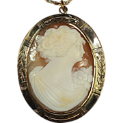 Gold Filled Carved Shell Cameo Pendant with Krementz Chain