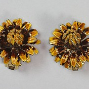 Enameled Sunflower Clip Earrings Signed Weiss