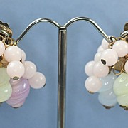 Vintage Pastel Dangle Cluster Earrings Clip Signed Reinad