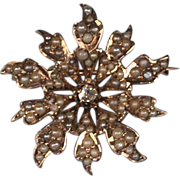 Victorian 10K Diamond and Seed Pearl Starburst Brooch Pin