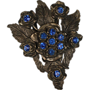 Vintage Dress Clip Sapphire Glass Stones Floral Motif Signed L/N Little Nemo