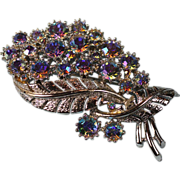 Vintage Coro Rhinestone Brooch  Blue Aurora Borealis Stones