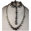 Vintage Rhinestone Blue Aurora Borealis Necklace Bracelet Earrings Set Parure