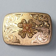 Black Hills Gold 10K Trim Overlay Buckle with Chased Design