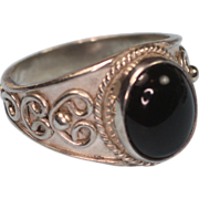 Vintage Onyx and Sterling Ring Applied Design