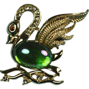 Vintage Swan Bird Figural Brooch Rhinestones Green Iridescent Stone