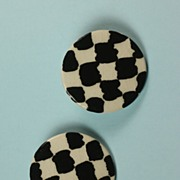 Ruby Z Black and White Checkerboard Round Ceramic Earrings