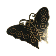 Niello Enameled Sterling Butterfly Pin Thailand