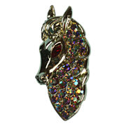 Aurora Borealis Rhinestone Horse Head Brooch Vintage
