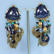 Vintage Chipita Earrings Clip Blue Stone Beads Dangles