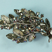 SALE Rhinestone Brooch Smoky Gray Rhinestones Textured Navettes